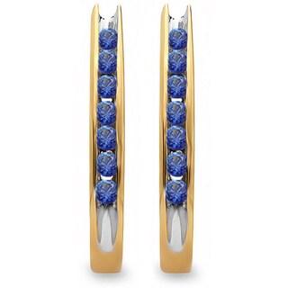 10k Yellow Gold 1/4ct TDW Blue Sapphire Fancy J Shaped Hoop Earrings
