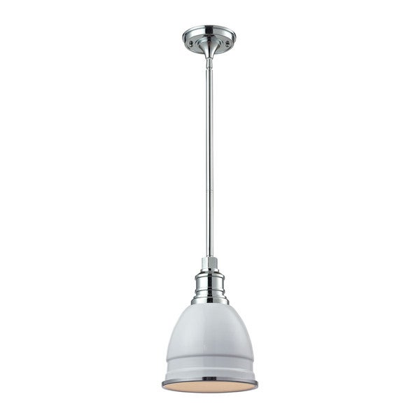 Elk Carolton Gloss White and Chrome 1-light Pendant