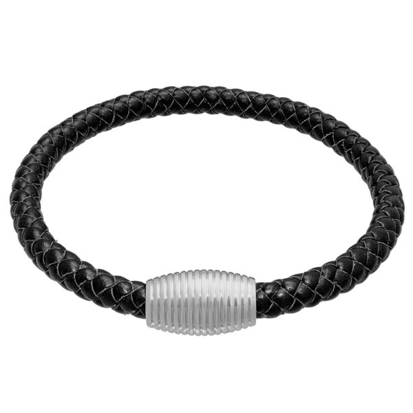 Black Leather Bracelet with Stainless Steel Magnetic Clasp 17573467