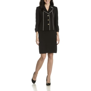 Tahari Arthur S. Levine Women's Contrast Piping 2-piece Skirt Suit