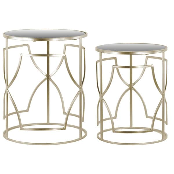 Metal Round Nesting Accent Table with Mirror Top and Round  : Metal Round Nesting Accent Table with Mirror Top and Round Base Set of Two Metallic Finish Champagne 76048457 0125 4ab4 ab27 1e09671c9345600 from www.overstock.com size 600 x 600 jpeg 20kB