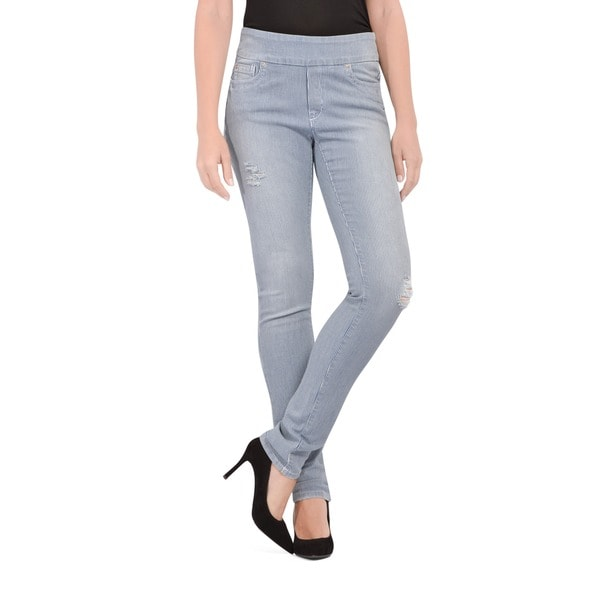 Bluberry Women's Light wash Stripe Slim Leg Denim