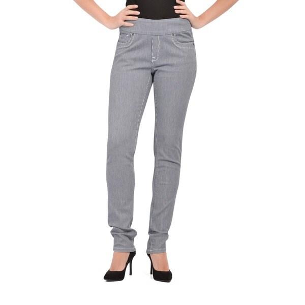 Bluberry Women's Tint wash Stripe Slim Leg Denim