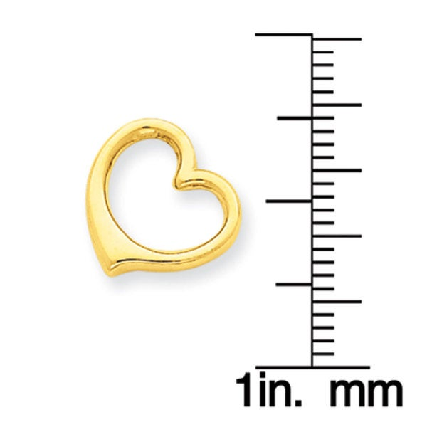 14k Yellow Gold 3-D Floating Heart Slide