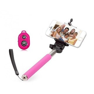 Pink Monopod Selfie Stick with Bluetooth Remote