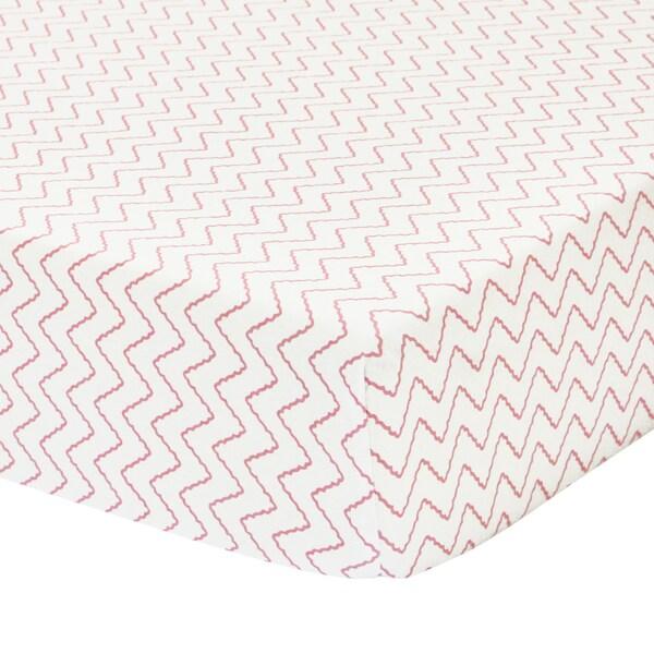 Petit Nest Penelope Pink Chevron Jersey Fitted Crib Sheet