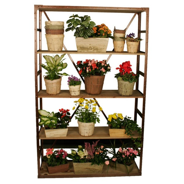 Weathered Pine Display Rack Large with Metal Accents