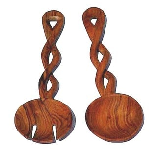Olive Wood Spoon and Fork Serving Utensils Set (Kenya)