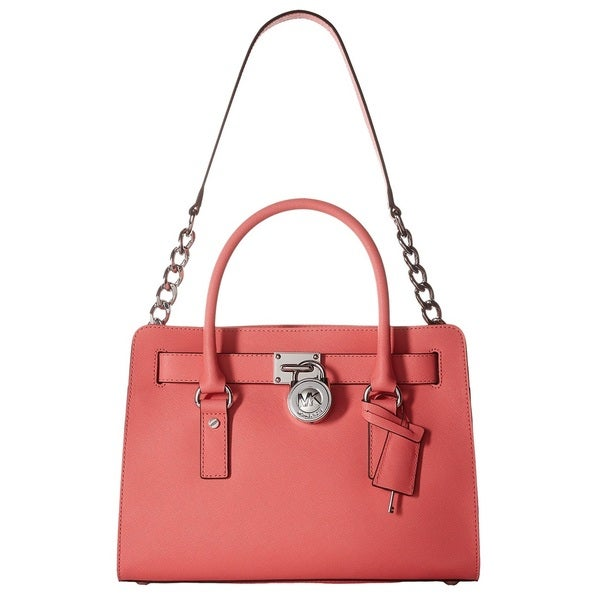 Michael Kors Hamilton Coral East/West Leather Tote Handbag