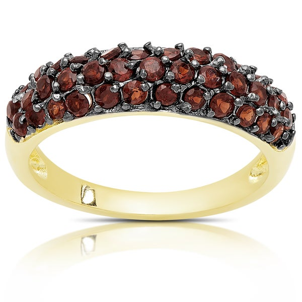 Dolce Giavonna Gold Over Silver Three Row Garnet Ring