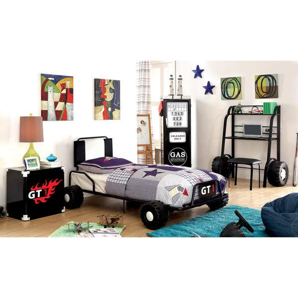 Furniture of America Jimmie Black Metal 5-piece Racing Twin-size Bedroom Set