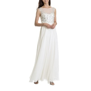 Decode 1.8 Women's Illusion Neckline with Embellished Bodice Evening Gown