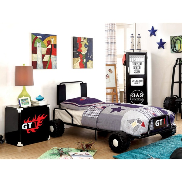 Furniture of America Jimmie Black Metal 3-piece Racing Twin-size Bedroom Set