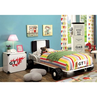 Furniture of America Jimmie White Metal 2-piece Racing Twin Bed and Nightstand Set