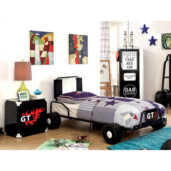 Furniture of America Jimmie Black Metal 2-piece Racing Twin Bed and Nightstand Set
