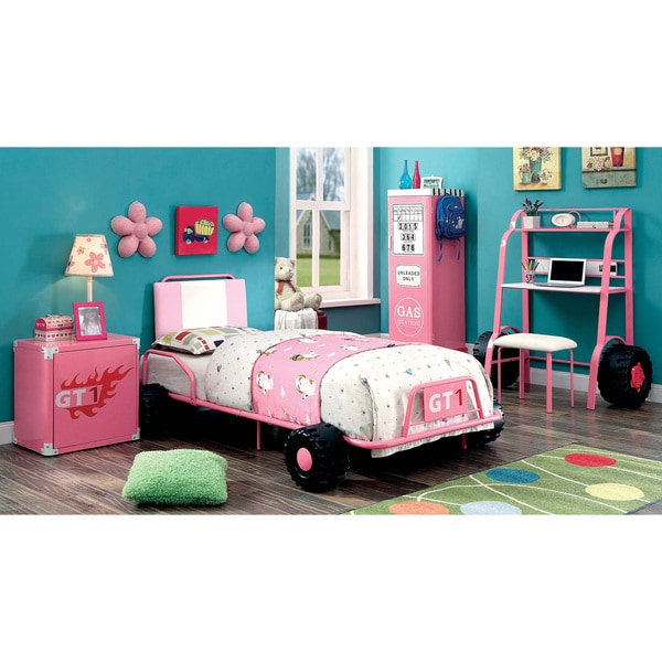 Furniture of America Jessie Pink Metal 5-piece Racing Twin-size Bedroom Set