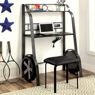 Furniture of America Loot Casual Black Metal 2-piece Desk with Stool Set