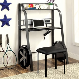 Furniture of America Born Racer Metal Desk with USB/Power Outlet