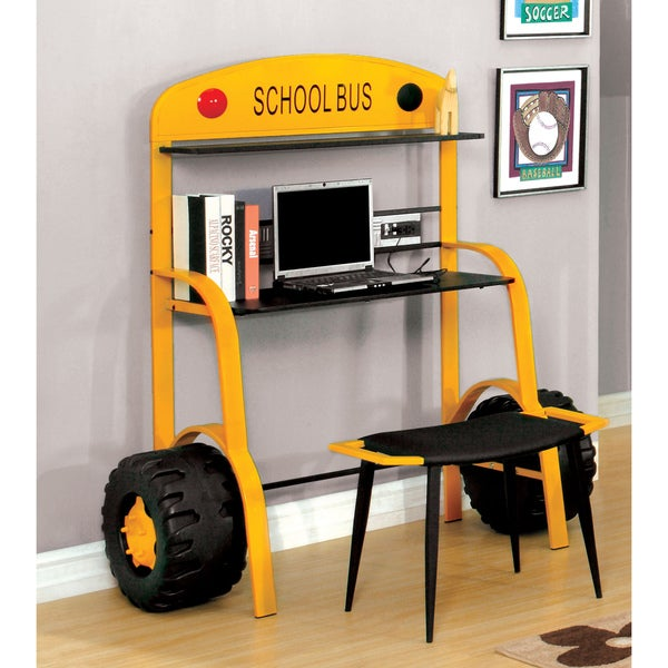 Furniture of America Elementary Bus Inspired Metal Workstation with USB