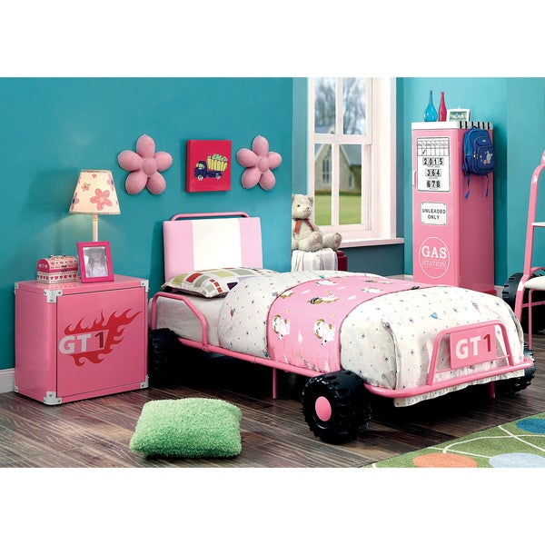 Furniture of America Jessie Pink Metal 3-piece Racing Twin-size Bedroom Set