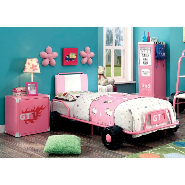 Furniture of America Jessie Pink Metal 2-piece Racing Twin Bed and Nightstand Set