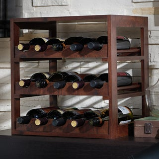 Furniture of America Stacie Rustic Vintage Walnut 15-bottle Wine Rack