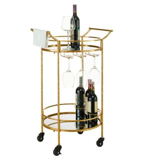 Oh! Home Round Gold Metal Bar Cart