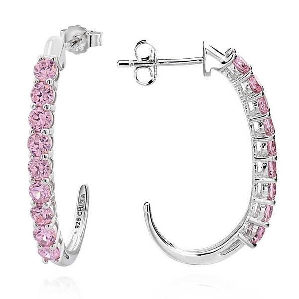 Sterling Silver Round Pink Cubic Zirconia J-hoop Earrings (China)