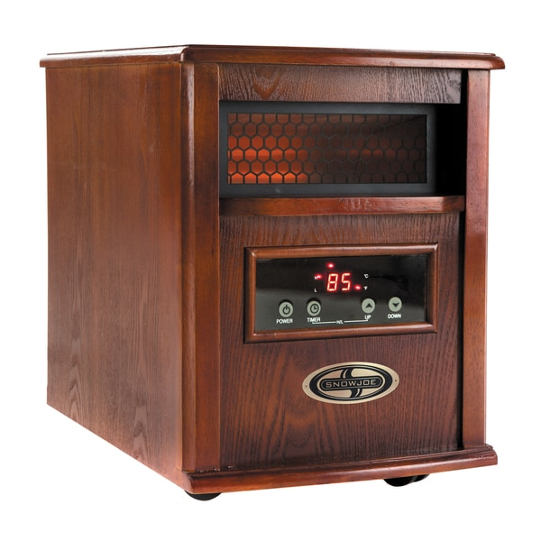 Snow 1500-Watt Quartz Portable Infrared Dark Oak Wood Space Heater with Stainless Steel Diffuser and Remote Control