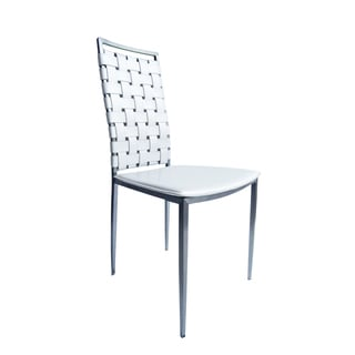 Napoli White Chair White Leather and Stainless Steel Dining Chair (Set of 2)