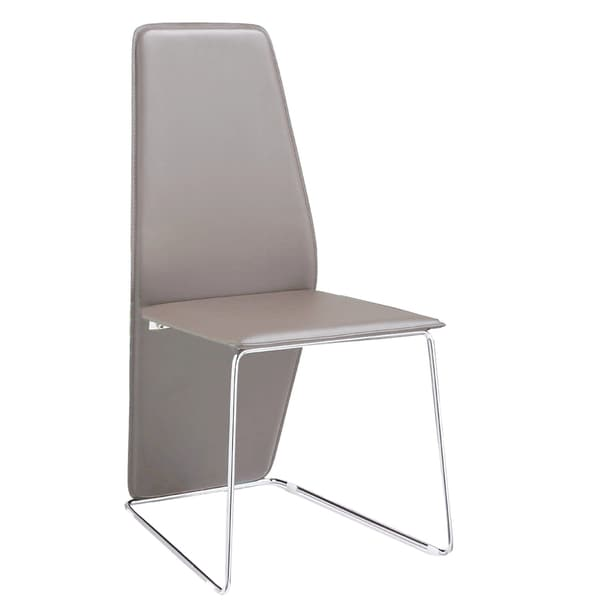 Logan Grey Leather and Chrome Dining Chair (Set of 2)