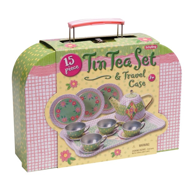 Schylling Childrens Tin Tea Set In Case 17577309