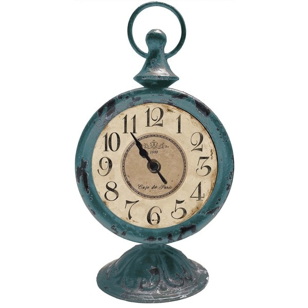 French Country Decor Blue Antique Clock