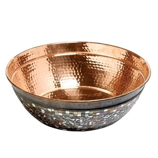 Sinkology Bardeen 16 inch Pure Copper Vessel Sink Handmade Naked Copper Sink with Glass Mosaic Exterior