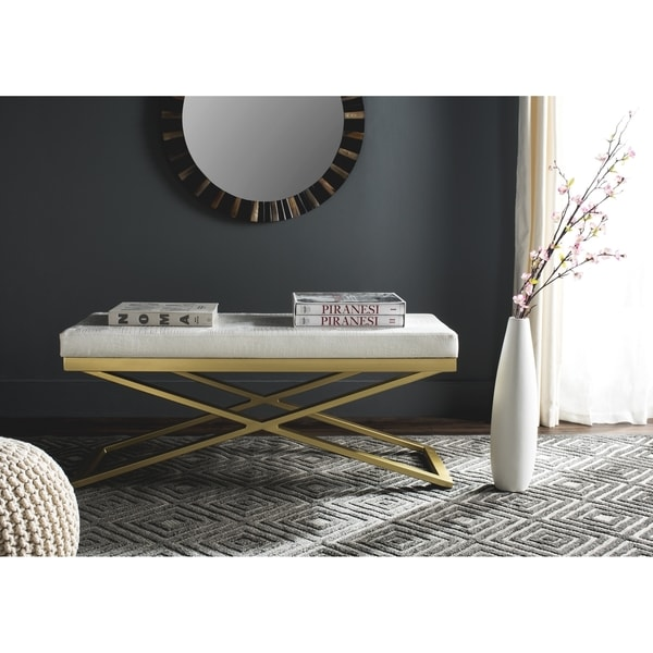 Safavieh Acra White/ Crocodile Bench
