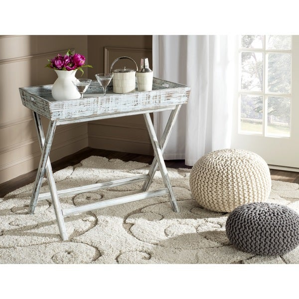 Safavieh Ainsley Weathered Blue Tray Table
