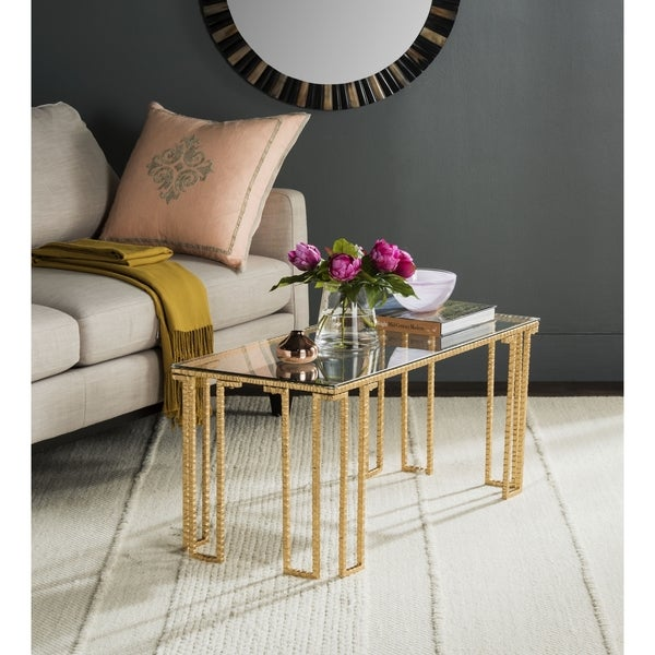 Safavieh Remus Antique Gold Leaf Coffee Table