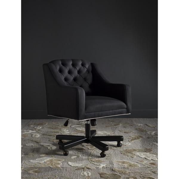 Safavieh Salazar Adjustable Swivel Black Taupe Desk Chair