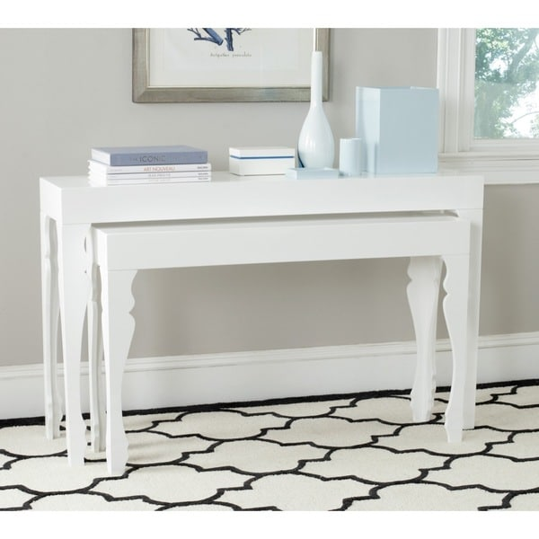 Safavieh Beth White Lacquer Nesting Table