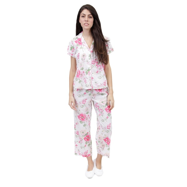 La Cera Women's Short Sleeve Printed PJ Set