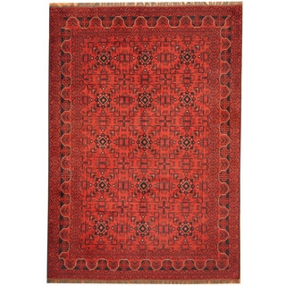 Herat Oriental Afghan Hand-knotted Khal Mohammadi Red/ Navy Wool Rug (6'8 x 9'6)