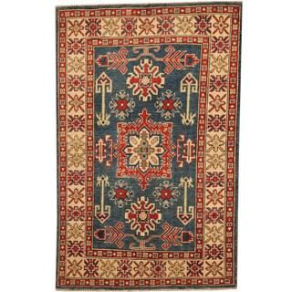 Herat Oriental Afghan Hand-knotted Tribal Kazak Blue/ Ivory Wool Rug (3'3 x 5'1)