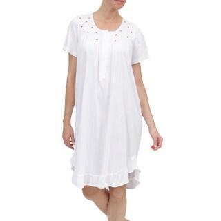 La Cera Women's Rosebud Embroidered Short Gown