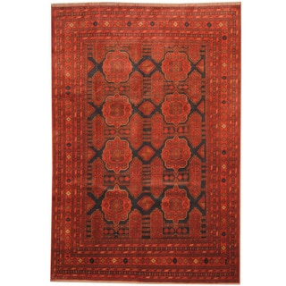 Herat Oriental Afghan Hand-knotted Tribal Khal Mohammadi Red/ Navy Wool Rug (6'6 x 9'7)