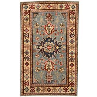 Herat Oriental Afghan Hand-knotted Tribal Kazak Blue/ Ivory Wool Rug (3'10 x 5'5)