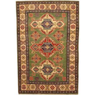 Herat Oriental Afghan Hand-knotted Tribal Kazak Green/ Ivory Wool Rug (3'10 x 5'11)