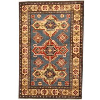 Herat Oriental Afghan Hand-knotted Tribal Kazak Blue/ Ivory Wool Rug (4'1 x 6'2)