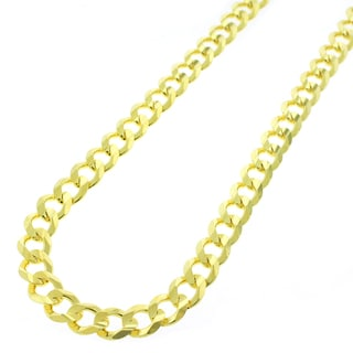 Yellow Goldplated Sterling Silver 7mm Solid Cuban Curb Link ITProLux Chain Necklace