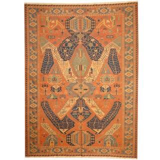Herat Oriental Indo Hand-woven Tribal Soumak Kilim Rust/ Blue Wool Rug (8' x 10'10)