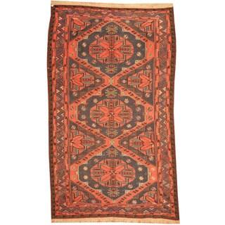 Herat Oriental Russian Hand-woven 1940's Semi-antique Tribal Soumak Kilim Navy/ Rust Wool Rug (5'10 x 9'8)